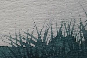 Met stokje lijnen omhoogtrekken vanuit natte verf