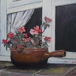 Plant op vensterbank