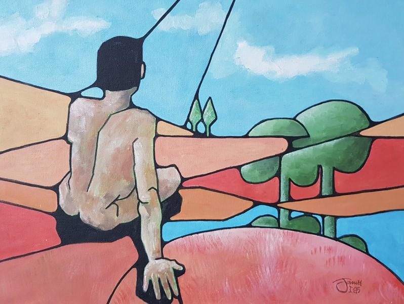 Man in landschap -  20x30cm